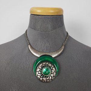 Silver & Green Pendant Necklace